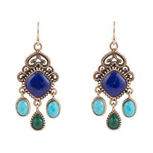 BARSE Bronze Turquoise and Lapis Stone Earrings